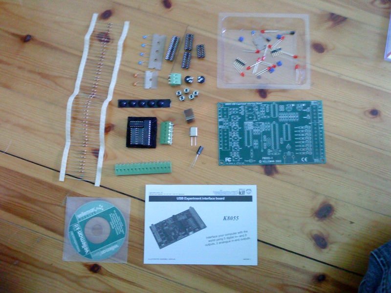 Velleman K8055 USB Interface Board before assembly